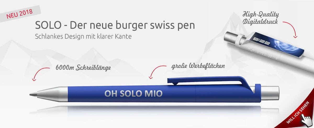 burger swiss pen solo - Werbekugelschreiber 2018 mit Stil