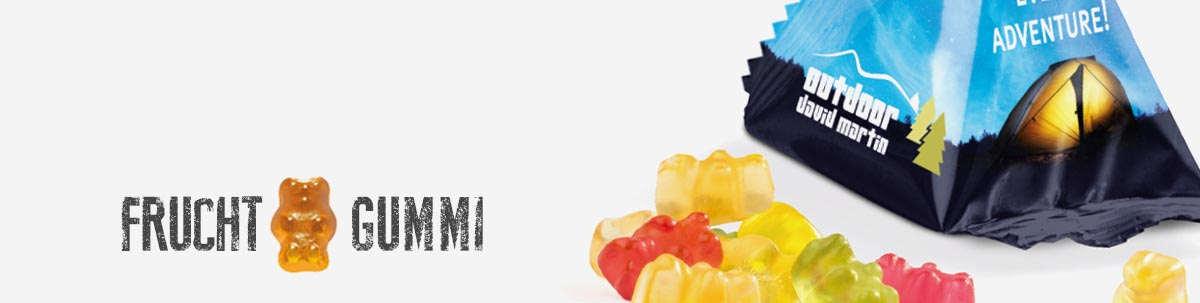 Werbegummibärchen und Fruchtgummitüten mit Logo