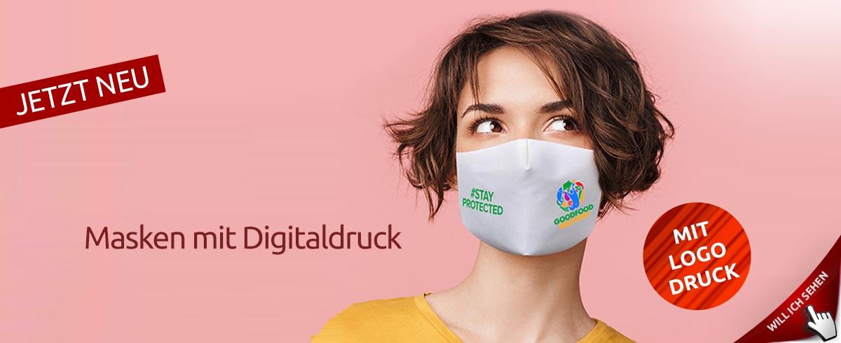 Gesichtsmasken und Mund-Nase-Masken mit Logo bedrucken