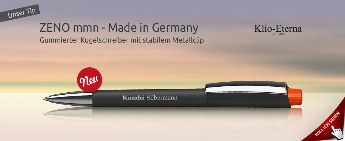 Werbekugelschreiber Klio Zeno mit gummiertem Schaft und Metallclip