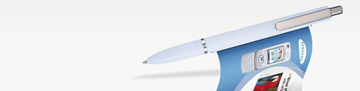 Kugelschreiber mit ausziehbarer Werbefahne