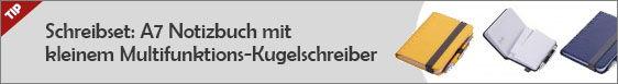 Notizbuch A7 mit Multifunktions-Werbekugelschreiber