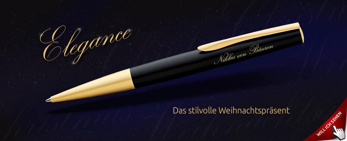Edler Metall-Kugelschreiber mit Gravur als Weihnachtsgeschenk - UMA Elegance
