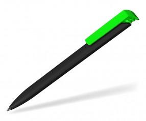 Klio Werbekugelschreiber TRIAS softtouch high gloss AST TI schwarz neon grün