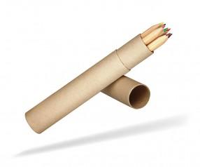 Buntstifte Set mit 7 langen Holzstiften im Papprohr