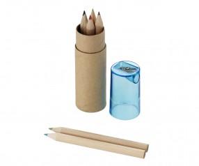 Buntstifte Set mit 7 Stiften im Papprohr und Spitzer im Deckel