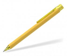 Schneider Kugelschreiber ESSENTIAL Soft Touch gelb mit Clip und Spitze transparent