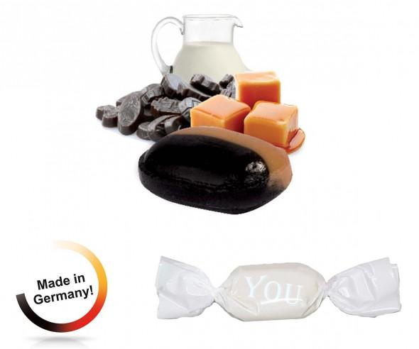 Bonbon weisser Wickler Vollmilch-Karamell-Lakritz 1-Kilo-Tüte Werbeartikel
