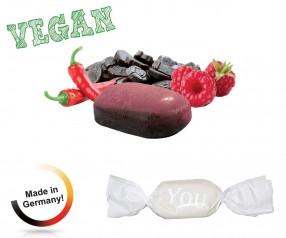 Bonbon weisser Wickler Himbeer-Chilli-Lakritz vegan 1-Kilo-Tüte Streuartikel