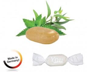Bonbon weisser Wickler Solvens-Eukalyptus-Menthol 1-Kilo-mit Werbedruck