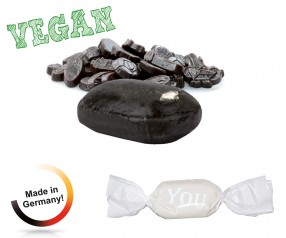 Bonbon weisser Wickler Lakritz extra stark vegan 1-Kilo-Tüte Werbegeschenk