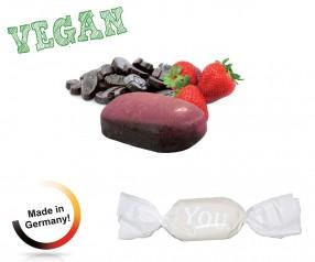 Bonbon weisser Wickler Erdbeer-Lakritz vegan 1-Kilo-Tüte mit Logodruck