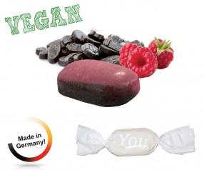 Bonbon weisser Wickler Himbeer-Lakritz vegan 1-Kilo-Tüte