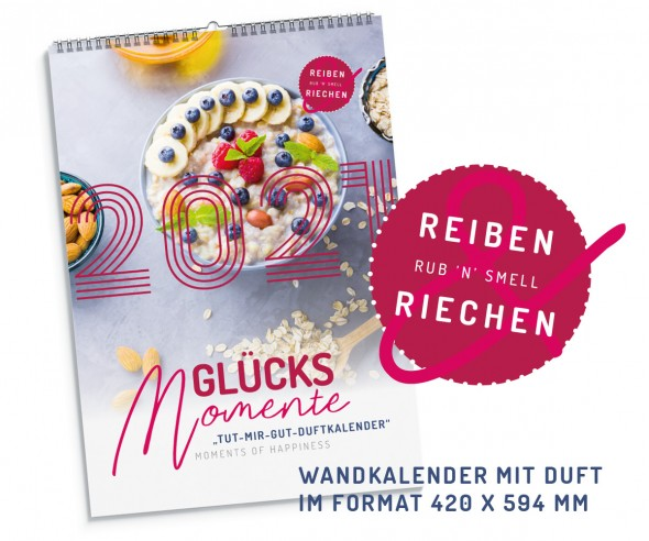 Duftkalender DIN A2 Wandkalender Werbekalender mit Logo Druck duftende Bilder + Fotos Werbegeschenk