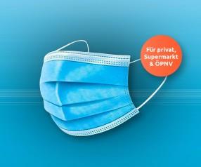 Gesichtsmasken für Supermarkt und ÖPNV SFO1001 MNS Einweg 3-lagig blau