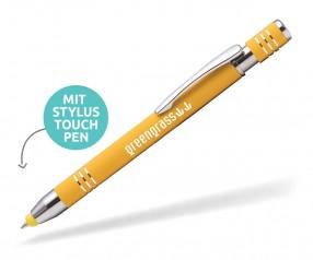 Goldstar Lennox-Morrison LMN Soft Touch Kuli mit Touchpen incl Gravur Pantone 123 gelb