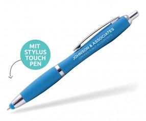 Goldstar Lopez MHC Softtouch Kuli mit Touchpen incl Gravur Pantone 7461 hellblau