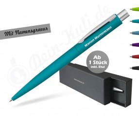 Kugelschreiber Präsent inkl Glanz-Gravur im Etui - LUMOS Softtouch silber - versch Farben