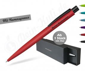 Kugelschreiber Geschenk inkl SCHWARZ-Gravur im Etui - LUMOS Softtouch black - versch Farben