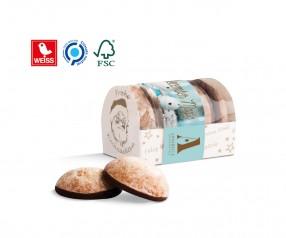 Lebkuchen Mini 4er Box mit Banderole als Werbegeschenk mit Druck