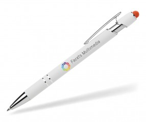 Goldstar The Prince Bright Kugelschreiber Softtouch Touchpen MPE weiss orange