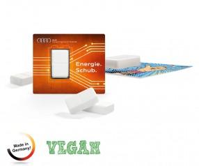 Traubenzucker als Energiekarte vegan mit Digitaldruck