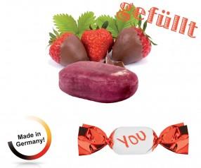 Bonbon gefüllt metallisierter Wickler Schoko-Erdbeer 1-Kilo-Tüte