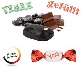 Bonbon gefüllt metallisierter Wickler Schoko-Lakritz vegan 1-Kilo-Tüte