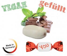 Giveaways Bonbons gefüllt metallisierter Wickler Schoko-Minz vegan 1-Kilo-Tüte