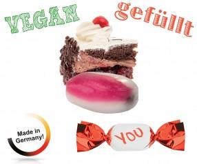 Bonbons mit Werbeaufdruck gefüllt metallisierter Wickler Schwarzwälder Kirsch vegan 1-Kilo-Tüte
