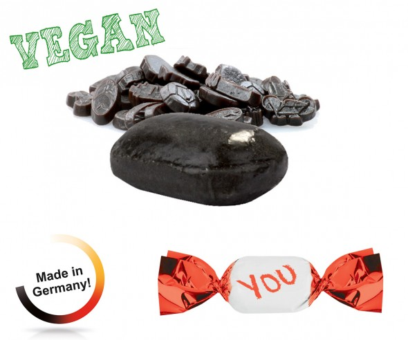 Bonbon Werbung metallisierter Wickler Lakritz extra stark vegan 1-Kilo-Tüte