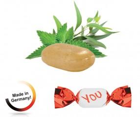 Werbegeschenk Bonbons metallisierter Wickler Solvens Eukalyptus-Menthol 1-Kilo-Tüte