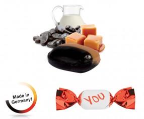 Werbeartikel Bonbons metallisierter Wickler Vollmilch-Karamell-Lakritz 1-Kilo-Tüte