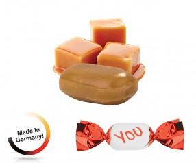 Werbemittel Bonbons metallisierter Wickler Vollmilch-Karamell 1-Kilo-Tüte