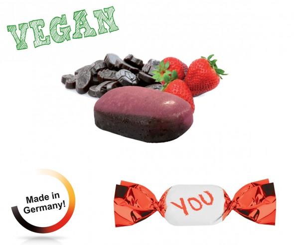 Werbebonbons vegan metallisierter Wickler Erdbeer-Lakritz 1-Kilo-Tüte