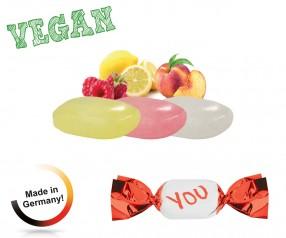 Bonbons Werbegeschenk vegan metallisierter Wickler Fruchtmix 1-Kilo-Tüte