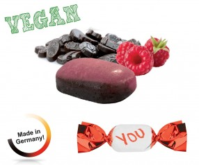 Bonbon Werbedruck vegan metallisierter Wickler Himbeer-Lakritz 1-Kilo-Tüte