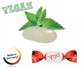 Bonbons mit Aufdruck vegan metallisierter Wickler Pfefferminz 1-Kilo-Tüte
