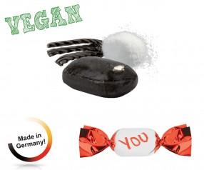 Bonbons Druck: vegan metallisierter Wickler Salz-Lakritz 1-Kilo-Tüte