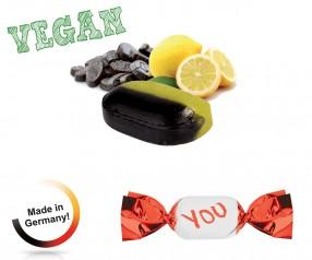Bonbon Werbemittel vegan metallisierter Wickler Zitronen-Lakritz 1-Kilo-Tüte