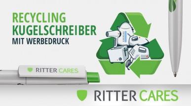 RITTER CARES. Recycling Kugelschreiber bedrucken - umweltfreundliche Werbeartikel aus Elektroschrott