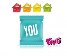 Trolli Fruchtgummi Minitüte Haus mit Logo bedrucken