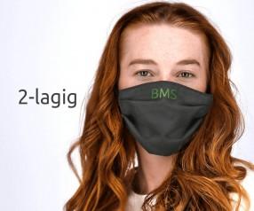 Behelfsmaske bedrucken 1901 Mund-Nasen-maske mit Digitaldruck oder Bestickung 2-lagig schwarz