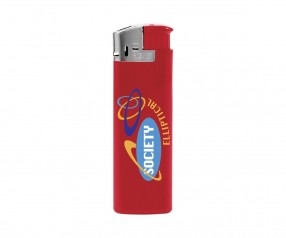 BIC J38 Elektronikfeuerzeug Werbeartikel Chrome Rot