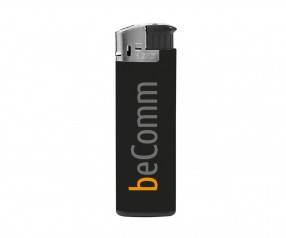 BIC J38 Elektronikfeuerzeug Werbeartikel Chrome Schwarz
