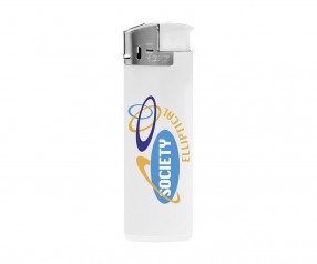 BIC J38 Elektronikfeuerzeug Werbeartikel Chrome Weiss
