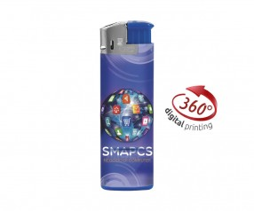 BIC J38 Elektronikfeuerzeug mit Digitaldruck 360° Grad DIGITAL LIGHTER blau