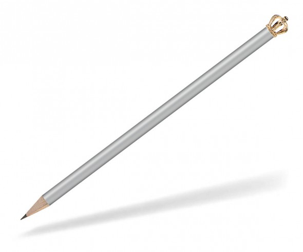 Reidinger Bleistift Werbeartikel mit Krone silber Gold König