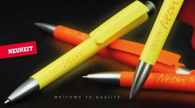 Auffälliger geht es nicht: Der neue Werbekugelschreiber Delta Neon in leuchtenden Signalfarben