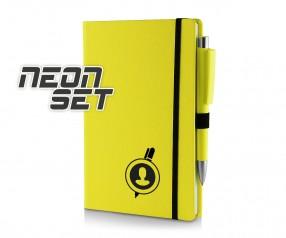Kugelschreiber Set Notizbuch A5 neongelb